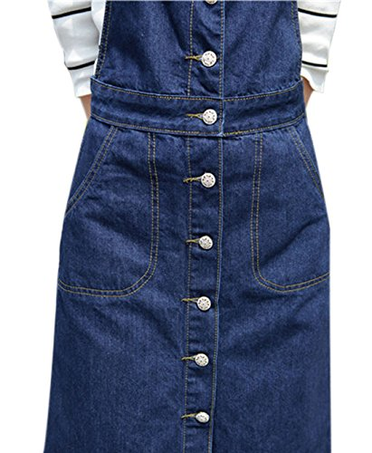 118b43a35f9 Yeokou Women s Midi Length Long Denim Jeans Jumpers Overall Pinafore Dress  Skirt