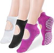 Yoga Socks for Women, Sportneer Non Slip Grip Socks Ideal for Yoga Sports Barre Pilates, 3 Pairs