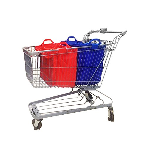 Vaiigo Trolly Shopping Cart Bag Eco Friendly Reusable Grocery Bags Perfect For Shopping Carts – Foldable (2, Red+Blue)