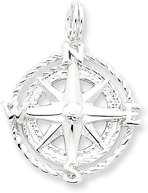 travel jewelry Sterling Silver compass necklace travel necklace nautical jewelry,