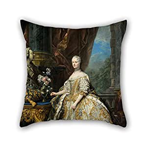 Alphadecor Cushion Cases Of Oil Painting Carle Van Loo - Marie Leszczinska, Reine De France (1703-1768),for Festival,car,shop,home Office,him,drawing Room 16 X 16 Inches / 40 By 40 Cm(double Sides)