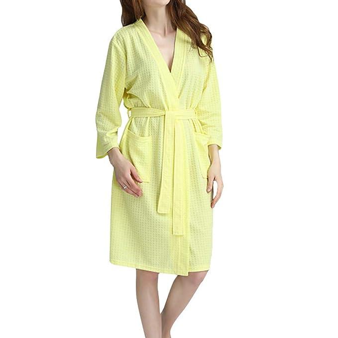 GODGETS Mujer Batas Kimono Algodón Camisón Encaje Pijama Túnica Ropa de Dormir: Amazon.es: Ropa y accesorios