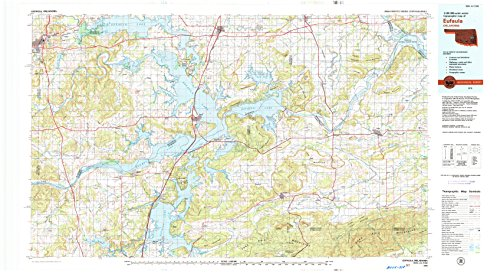 YellowMaps Eufaula OK topo map, 1:100000 Scale, 30 X 60 Minute, Historical, 1978, Updated 1979, 25 x 45.2 in - Paper
