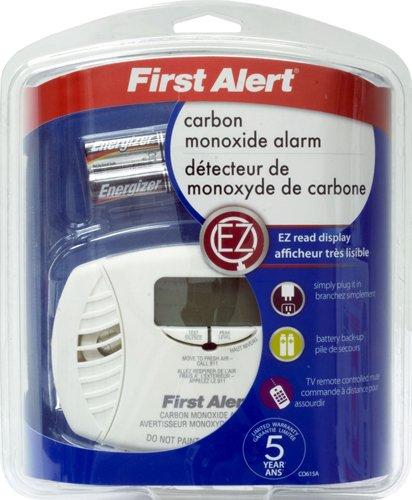 FIRST ALERT/BRK BRANDS CO615A Plug-in Carbon Monoxide Detector Backup, Low Battery Alarm, Backlit Digital, 120 Vac,