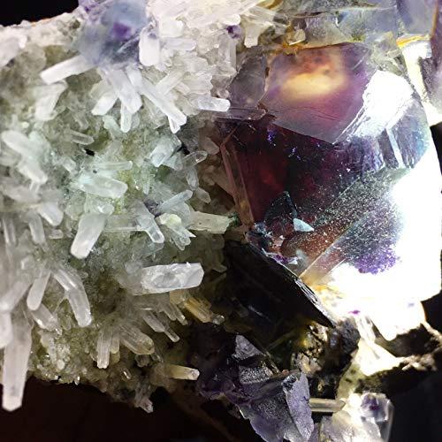 Rare 1725ct Purple Phantom Ghost Fluorite Cube Cluster on Quartz Crystal Matrix Collectible Gemstone Mineral Geode Rough Specimen - China -