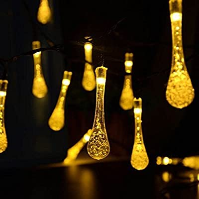 LED SopoTek Solar Christmas Lights 19.7ft 6m 30 LED 2 Modes Crystal Water Drop Solar Fairy String Lights for Outdoor, Gardens, Homes, Wedding, Christmas Party, Waterproof (30 LED warm white)