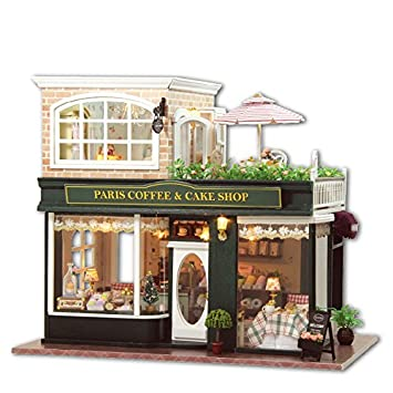Terrific Diy Wooden Dolls House Handcraft Miniature Kit Paris Coffee Cake Wiring Digital Resources Cettecompassionincorg