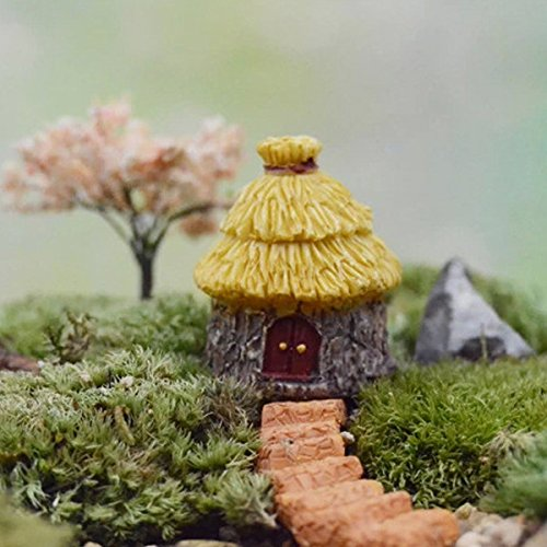 New Fairy Garden Miniature Dome Thatched House Micro Landscape