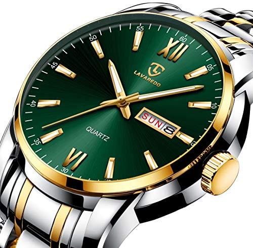 Watch, Watches for Men, Gold Luxury Waterproof Analog Dress Stainless Steel Date Wrist Watch for Men