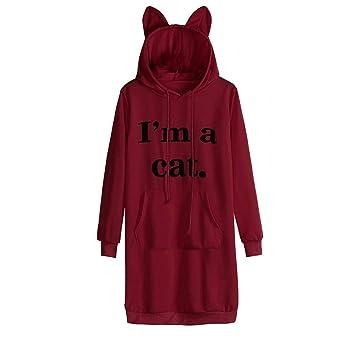 FuweiEncore Vestido Estilo Sudadera con Capucha de Manga Larga con Estampado de Carta de A Cat para Mujer (Color : Wine, tamaño : XX-Large): Amazon.es: ...