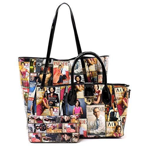 Glossy Magazine Cover Collage Michelle Obama Printed Shoulder Shopper handbag + Crossbody purse + Wallet 3pcs set (Multi)