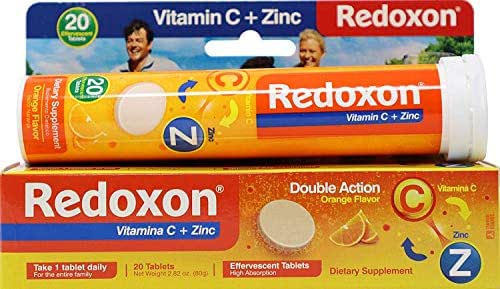 Redoxon Orange Effervescent Vitamin C with Con Zinc, 20 Tablets (6 Pack)