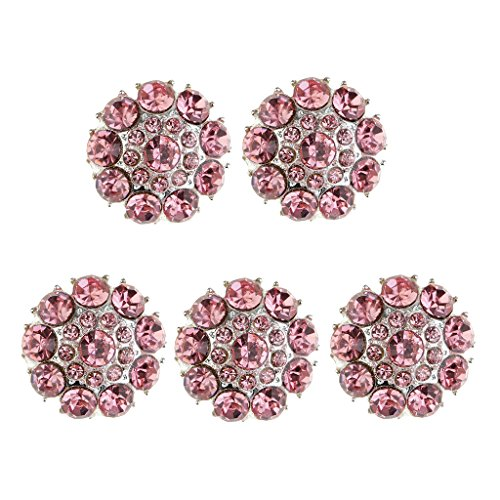 MagiDeal 5 Pieces Pink Crystal Rhinestone Buttons Sew-On Silver Plated Metal Buttons with Shank for Bridal Clothing Decoration DIY Crafts Wedding Decorations, 25mm/0.98inch