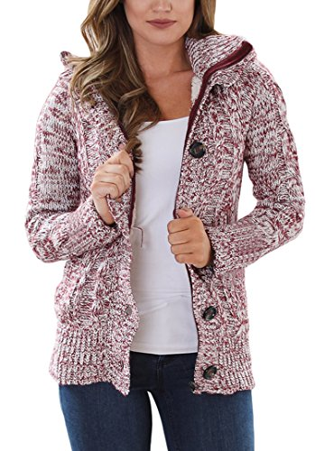 Sidefeel Women Hooded Knit Cardigans Button Cable Sweater Coat Large Red