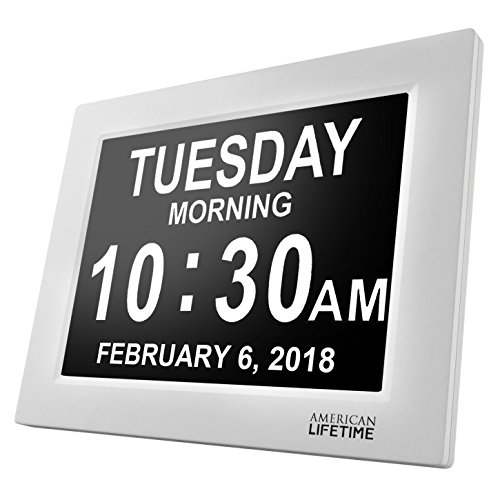 Digital Time Clock ([Newest Version] Day Clock - Extra Large Impaired Vision Digital Clock with Battery Backup & 5 Alarm Options)