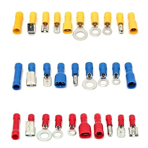 YIYATOO 480pcs Wire Terminals Electrical Connectors Crimp Terminals, Mixed Assorted Lug Kit Insulated Spade Wire Connector Crimp Terminal Spade Ring Set by YIYATOO (Image #1)
