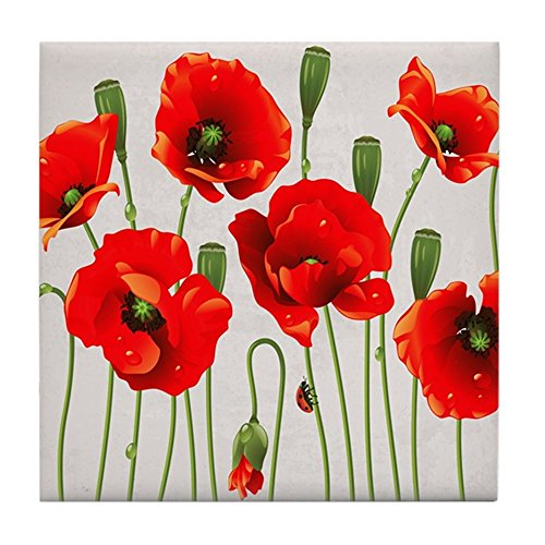 CafePress - Painted Red Poppies - Tile Coaster, Drink Coaster, Small Trivet