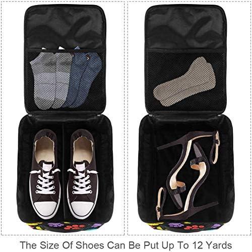 MYSTAGE シューズバッグ 靴箱 シューズケース シューズ袋 旅行収納ポーチ 二層式 靴入れ 小物収納 収納ケース アウドドア 出張 旅行 カラフル 手描き 足跡
