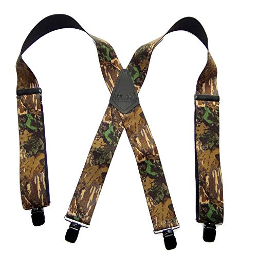 HoldUp Suspender Company Outdoorsmen Series Breakup Camouflage Pattern X-Back Suspenders with Patented Patented No-slip Clips ()