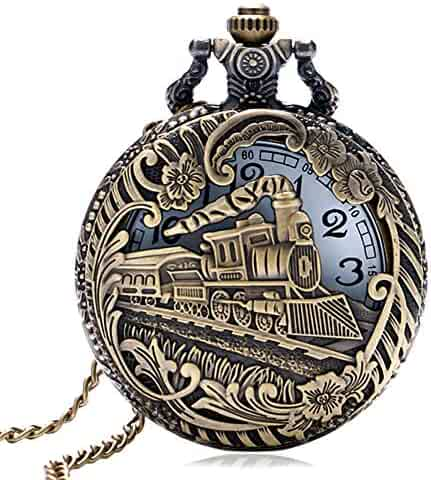 3D Train Pocket Watch, Antique Pocket Watches for Men, Special Boys Gifts