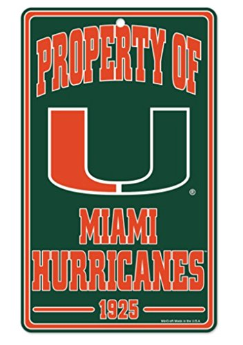 Wincraft NCAA University Miami Hurricanes Champ/Prop of Sign, 7.25 x 12, Black (Hurricanes Sign Miami)
