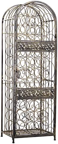HOMCOM 45 Bottle Wrought Iron Wine Rack Jail