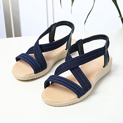Beach Verano De Y Wear Sandalias Wild Estudiante Chanclas Blue Mujer Sólidos Sandalias Embarazadas Colores WHLShoes Cómodo Planas Navy Mujer Para vz5wnqP