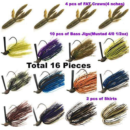 Jig Fishing - Wtrees Best Fishing Bass Jigs Kit Set with Trailers Hooks Skirts rattles (Jig Kit N)