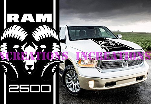 - Hemi Dodge Ram 2500 Hood Stripe Truck Decals Mopar Stickers Vynil Car Graphics (Black)