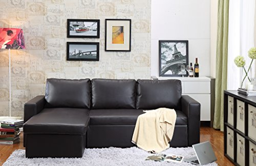 Carabelle Bonded Leather 2 Piece Sectional Sofa Bed with Chaise Lounge and  Storage, Brown