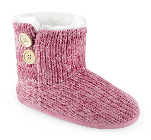 Slippers Pink Knitted Boot Chenille Ladies q0FA66
