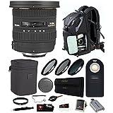 Focus Camera Sigma 10-20mm f/3.5 EX DC HSM Lens For Nikon w/Photo Backpack & Remote Bundle