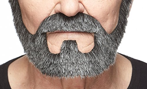Mustaches Self Adhesive, Novelty, On Bail Fake Beard, False Facial Hair, Costume Accessory for Adults, Salt and Pepper Color -