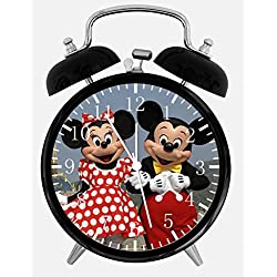 Disney Mickey and Minnie Mouse Alarm Desk Clock 3.75 Home or Office Decor E116 Nice For Gift