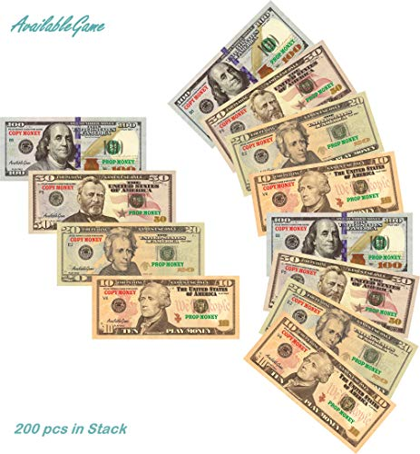 AvailableGame 100, 50, 20, 10 Dollars Play Money for Games, Pranks, Monopoly Prop Paper Copy Money Double-Sided Printing 50 pcs of Each Bill Total 200 pcs Educational Dollar Bills Stack in USA
