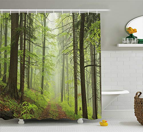 Ambesonne Outdoor Shower Curtain, Trail Trough Foggy Alders Beeches Oaks Coniferous Grove Hiking Theme, Fabric Bathroom Decor Set with Hooks, 75 Inches Long, Light Green Light Yellow