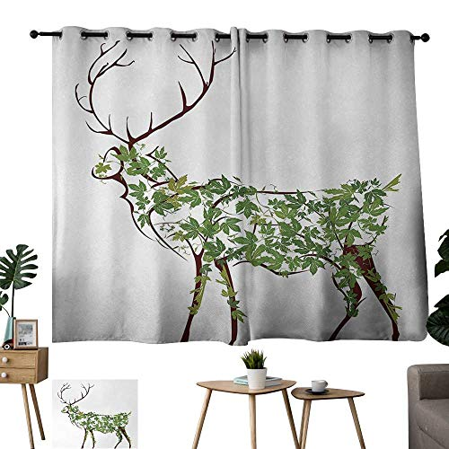 Grommet Decorative Curtains for Living Room Antlers Designer Deer Illustration Elk Leave Greenery Garden Traditional Celebration Green Brown White Outdoor Curtain for Patio W63 xL45