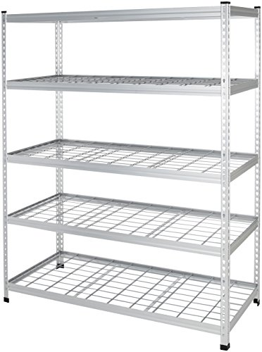 AmazonBasics Heavy Duty Storage Shelving Double Post Steel Wire Shelf, 60 x 24 x 78 Inch, Aluminum