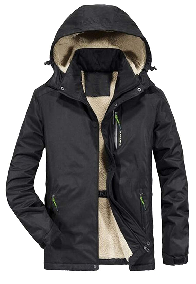 Fubotevic Men Outdoor Plus Size Winter Removable Hoodie Thermal Quilted Jacket Parka Coat Outerwear