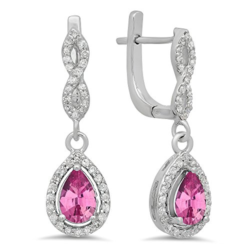 - Dazzlingrock Collection 14K Pear Pink Sapphire & Round White Diamond Ladies Halo Dangling Drop Earrings, White Gold