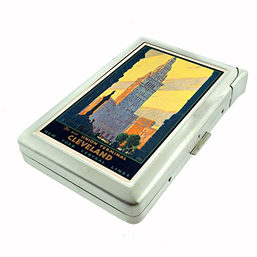 Perfection In Style Metal Cigarette Case with Built In Lighter Vintage Travel Posters Design 010