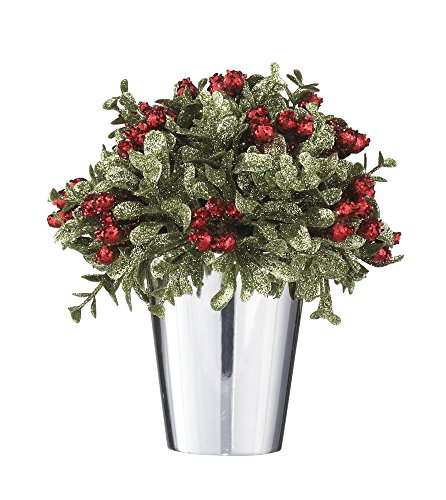 Ganz Kissing Krystals Mistletoe and Berries Topiary in Silver Pot - Christmas Table ()