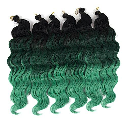 (YXCHERISHAIR 20inch 80g/pcs Freetress Synthetic Hair Crochet Braids Deep Twist Ombre Deep Wave Braiding Hair Extensions (20 inch 5 packs) (#Ombre)