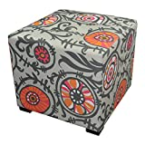 Sole Designs Contemporary Willard Theme Merton Collection Grey/Orange Button Tufted Upholstered Square Ottoman