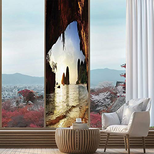 YOLIYANA The Visual Effect of Textured Glass and Stained Glass,Natural Cave Decorations,is Good for Long Year Under The Sunshine,Water Eroded Reed Flute Cave Chinese Cistern Rain,24''x78''
