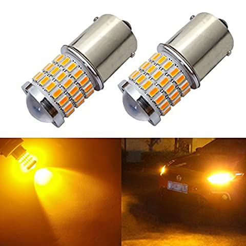 iBrightstar Newest 9-30V Super Bright Low Power 1156 1141 1003 BA15S LED Bulbs with Projector replacement for Turn Signal Lights,Amber (1156 Led Bulb Replacement)