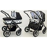 Poussette complète pour jumeaux avec nacelles + chaises + accessoires Cercles Noir + blanc Freestyle Twins