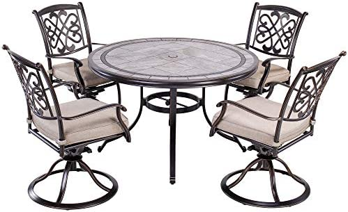 dali 5 Piece Patio Dining Set Outdoor Furniture, Deep Cushioned Aluminum Swivel Rocker Chair Set with 46 inch Round Mosaic Tile Top Aluminum Table