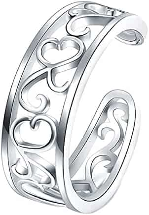 925 Sterting Silver Toe Ring, BoRuo Flower Hawaiian Leaf Adjustable Band Tail Ring