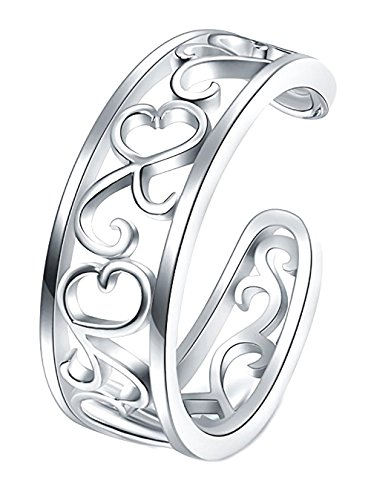 925 Sterling Silver Toe Ring, BoRuo Flower Hawaiian Leaf Adjustable Band Tail Ring Adjustable Sterling Toe Rings